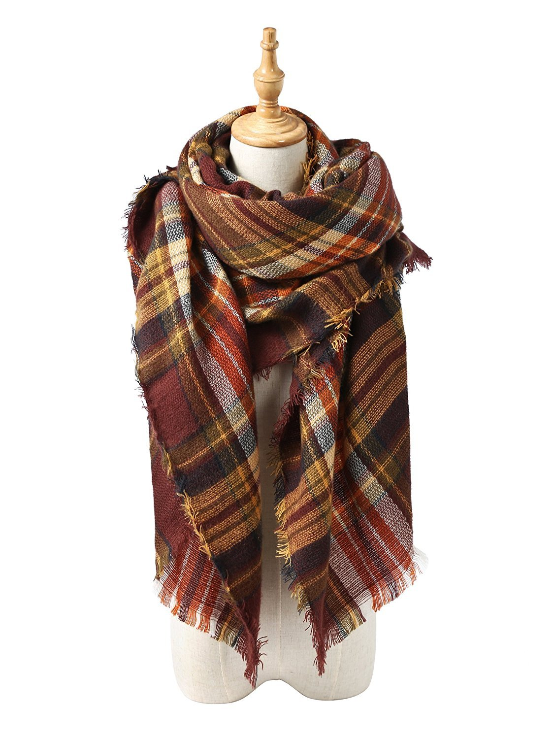 Trendy Women's Cozy Warm Winter Fall Blanket Scarf Stylish Soft Chunky Checked Giant Scarves Shawl Cape Coffee Warm