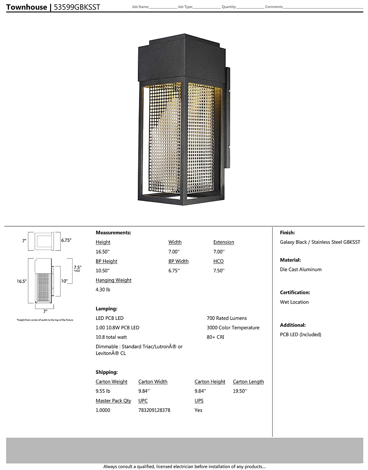 Galaxy Black // Stainless Steel Finish Damp Safety Rating Shade Material PCB LED Bulb Rated Lumens Maxim Lighting Glass Maxim 53599GBKSST Townhouse LED Outdoor Wall Sconce .16W Max.