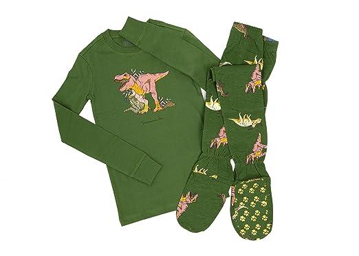 Big Feet PJS 2 Piece Footed Pajamas Jurassic Dinosaurs On Green (9-10)