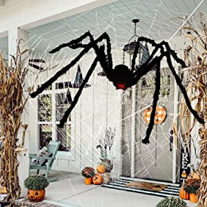 Eunchaes 6.6ft Halloween Spider Large Outdoor Decorations,Realistic Hairy Spiders,Giant Scary Spider with Red Eyes,Bendable Legs Halloween Props for Indoor,Outdoor and Yard Creepy Decor