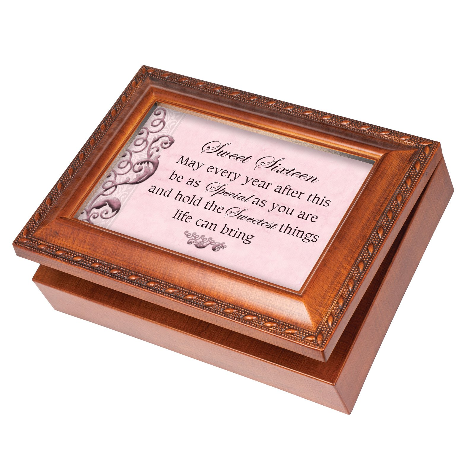 Sweet Sixteen Wood Finish Jewelry Music Box Plays Tune You Are My Sunshine
