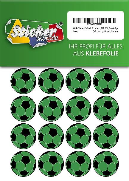 66, Fútbol, pegatinas, 30 mm, verde/negro, de PVC, pantalla ...