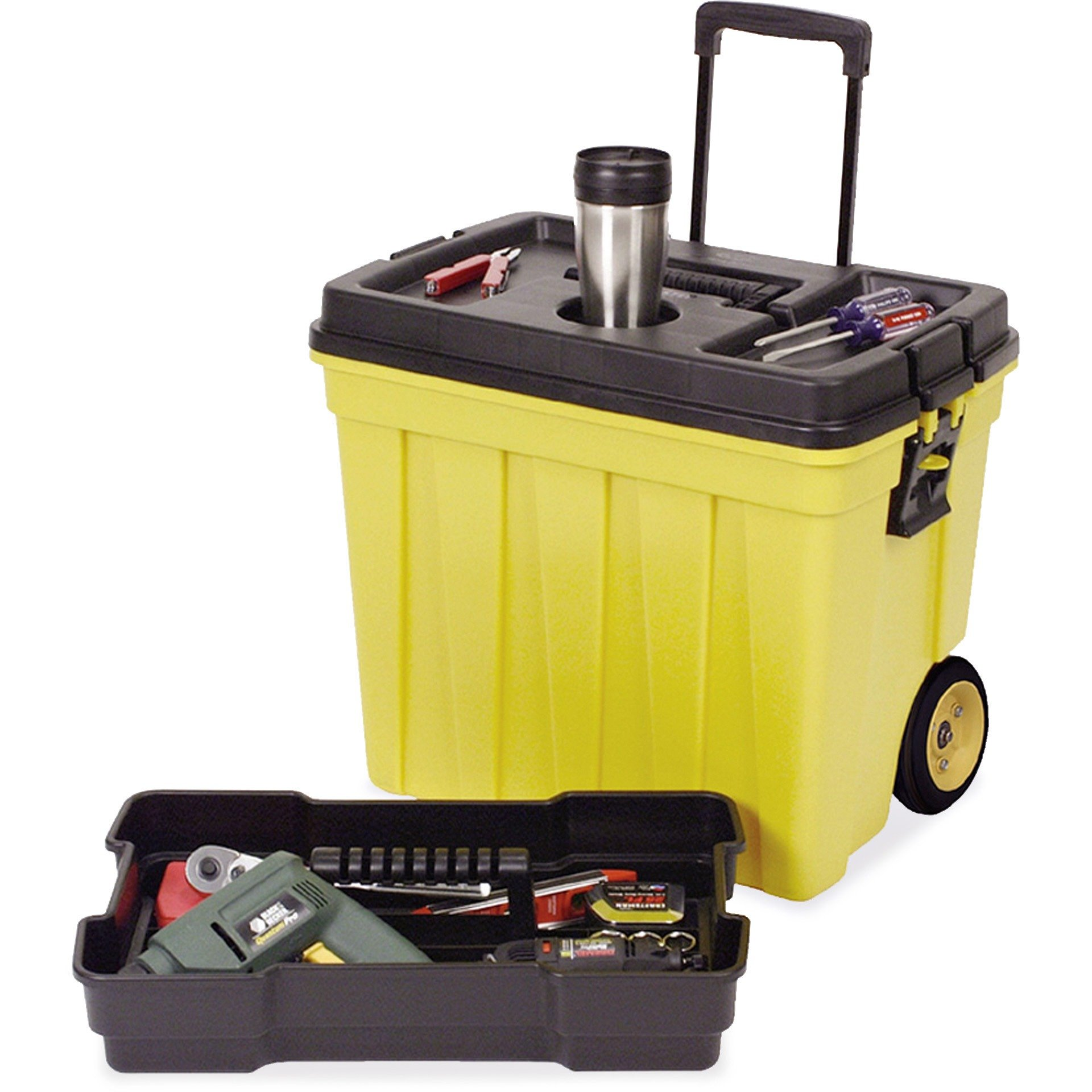 Continental Manufacturing Mobile Work Box, 23-1/2 by 15-1/2 by 20-1/4-Inch, Yellow/Black