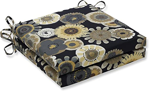 Pillow Perfect Outdoor/Indoor Crosby Ebony Squared Corners Seat Cushion 20x20x3 Set of 2 ,Black