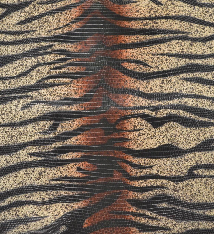 Genuine Lizard Skin非表示Tiger Print Rustタン9
