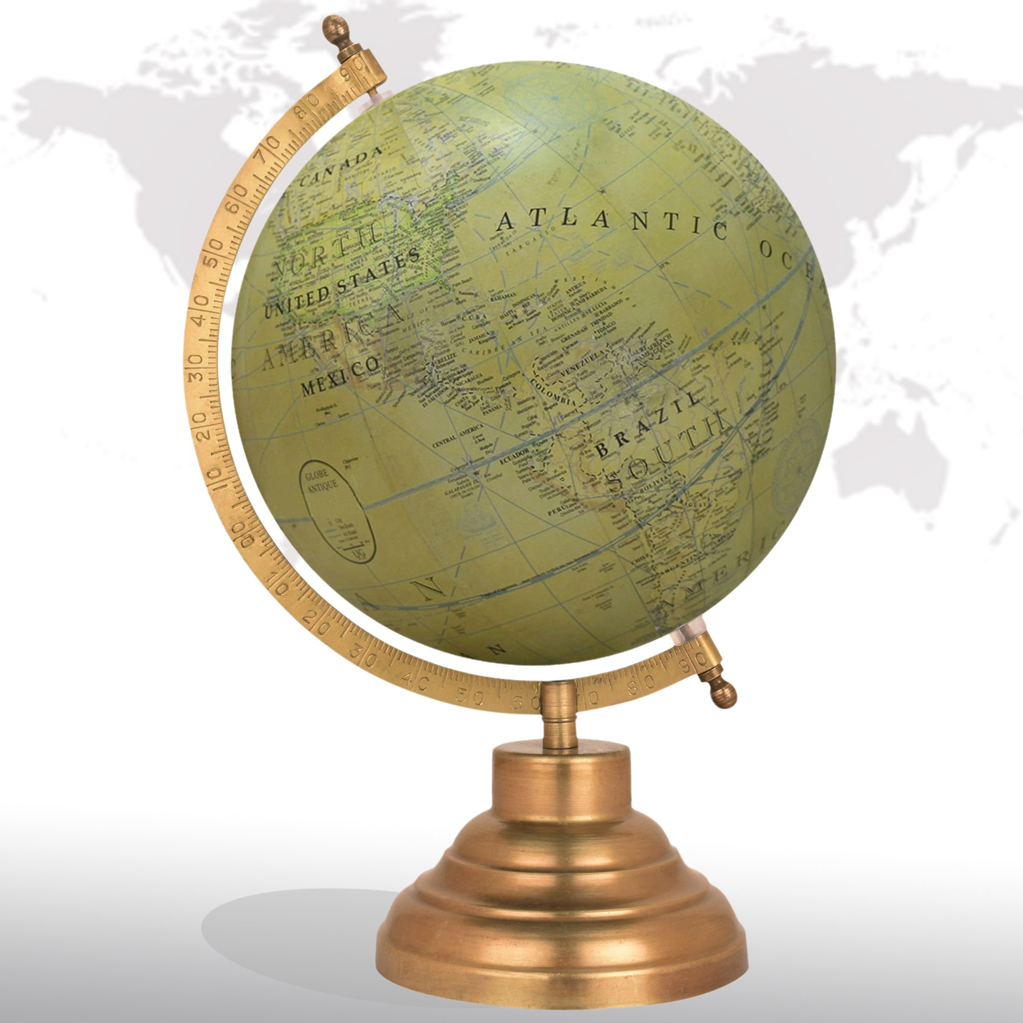 Decorative Rotating World Map Globe Green 8'' Inches Metal Base Educational Globe Office Table Topper
