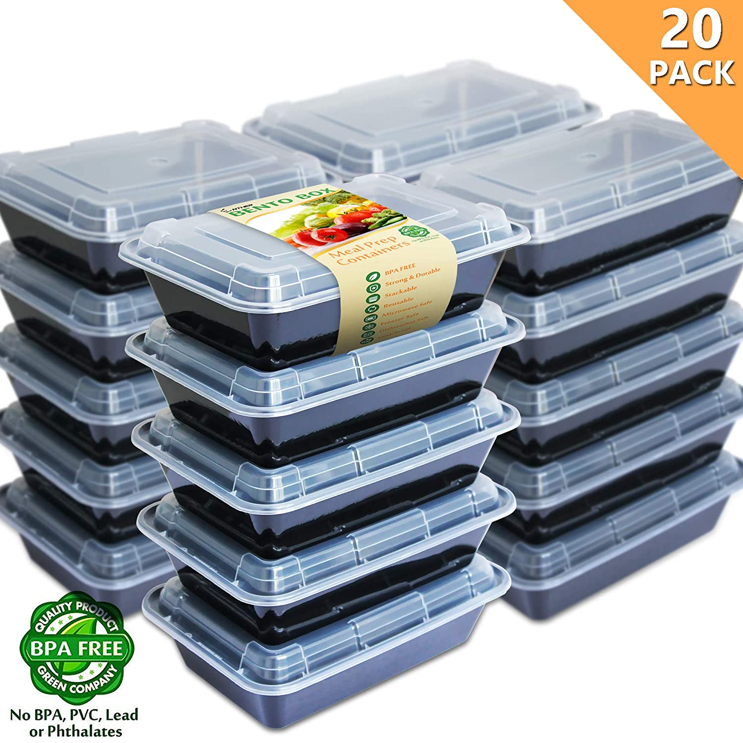 Enther [20 Pack] Single 1 Compartment Meal Prep Containers with Lids, Food Storage Bento Boxes, BPA Free, Reusable Lunch Box, Microwave/Dishwasher/Freezer Safe, Portion Control, New Version, 28oz 20PCCPT1