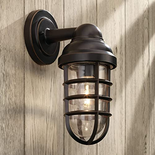 Marlowe Industrial Farmhouse Outdoor Wall Light Fixture Bronze 13 1 4 Caged Clear Glass Up Down for Exterior House Porch Patio Deck Barn – John Timberland