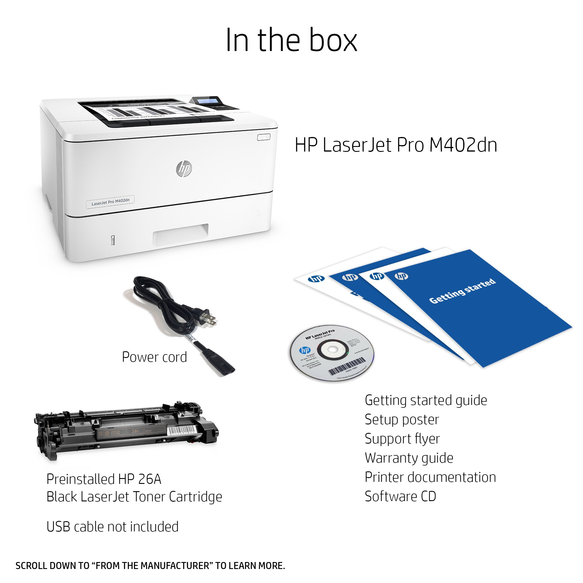 HP LaserJet Pro M402dn Laser Printer with Built-in Ethernet & Double-Sided Printing, Amazon Dash Replenishment ready (C5F94A) by HP (Image #4)