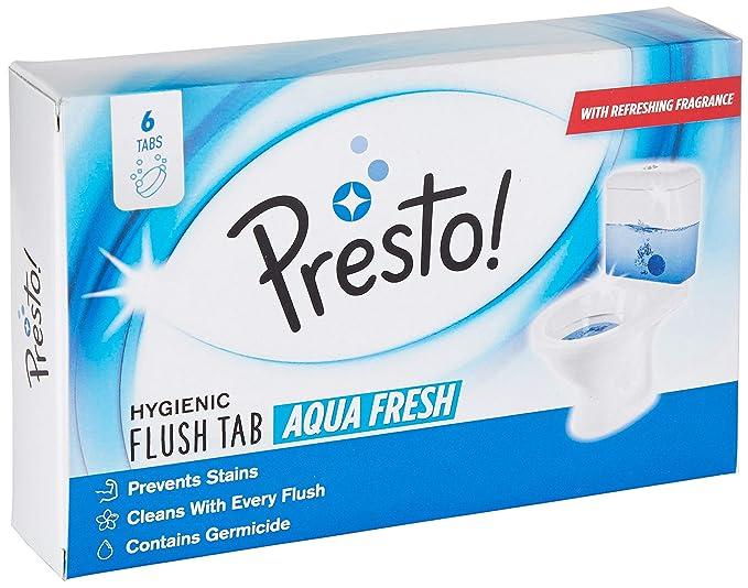 Amazon Brand - Presto! Hygienic Flush Tabs, Aqua Fresh - 50 g (Pack of 6)