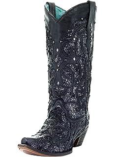 794ffcc565ce Amazon.com   Corral Ladies Black Glitter Inlay Boot   Boots