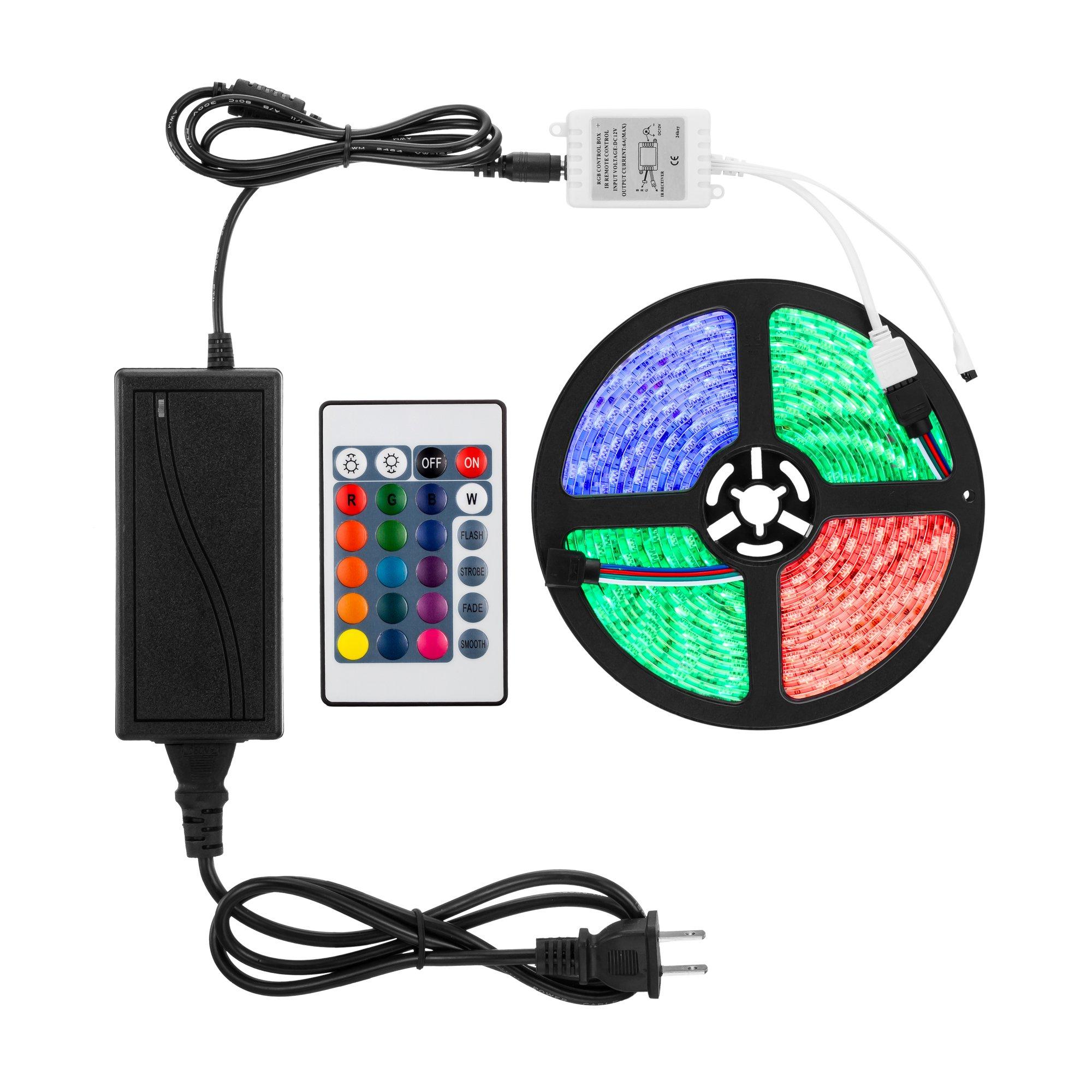 EMANER RGB Strip Lights,16.4 ft/5M, 5050SMD 300pcs LEDs, Waterproof Flexible Strip Light, IR Remote Controller, DC 12V Power Adapter Plug, Home Cabinet Garden Party Decor Strip Light, car Decor Light