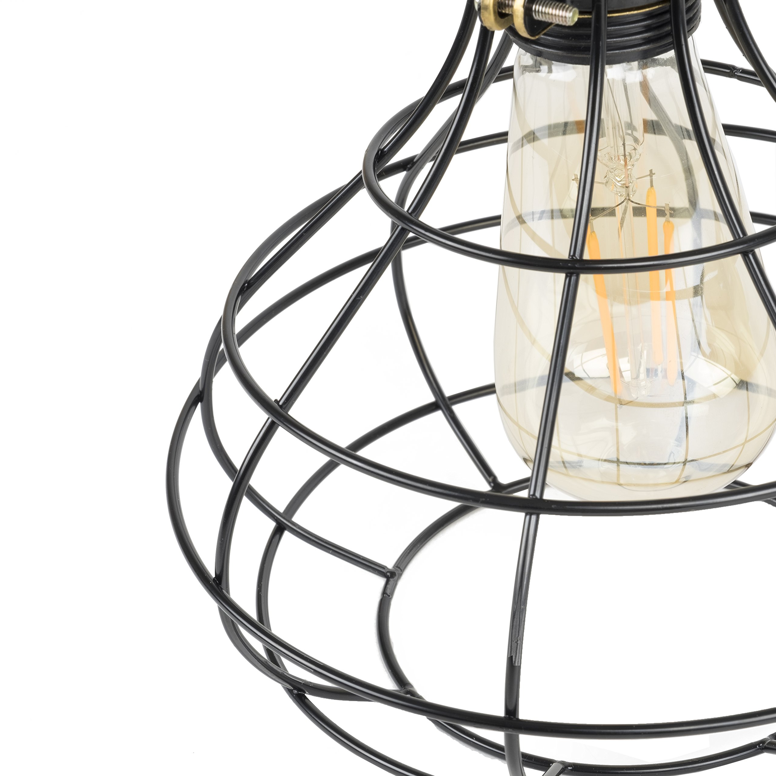 Industrial Cage Pendant Light with 15' Black Fabric Plug-in Cord and Toggle Switch Includes Edison LED Bulb in Black by Rustic State (Image #4)