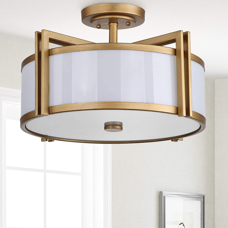 Amazon Com Safavieh Lighting Collection Orb Antique Gold 10 25 Inch Semi Flush Ceiling Light Home Kitchen