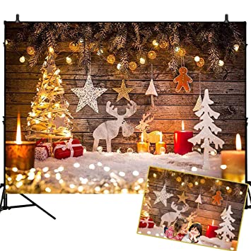 Mehofoto Christmas Photography Backdrop Candle Deer Bokeh Lighting  Background Wooden Wall Christmas Tree Decoration Background 7x5ft - Amazon.com : Mehofoto Christmas Photography Backdrop Candle Deer