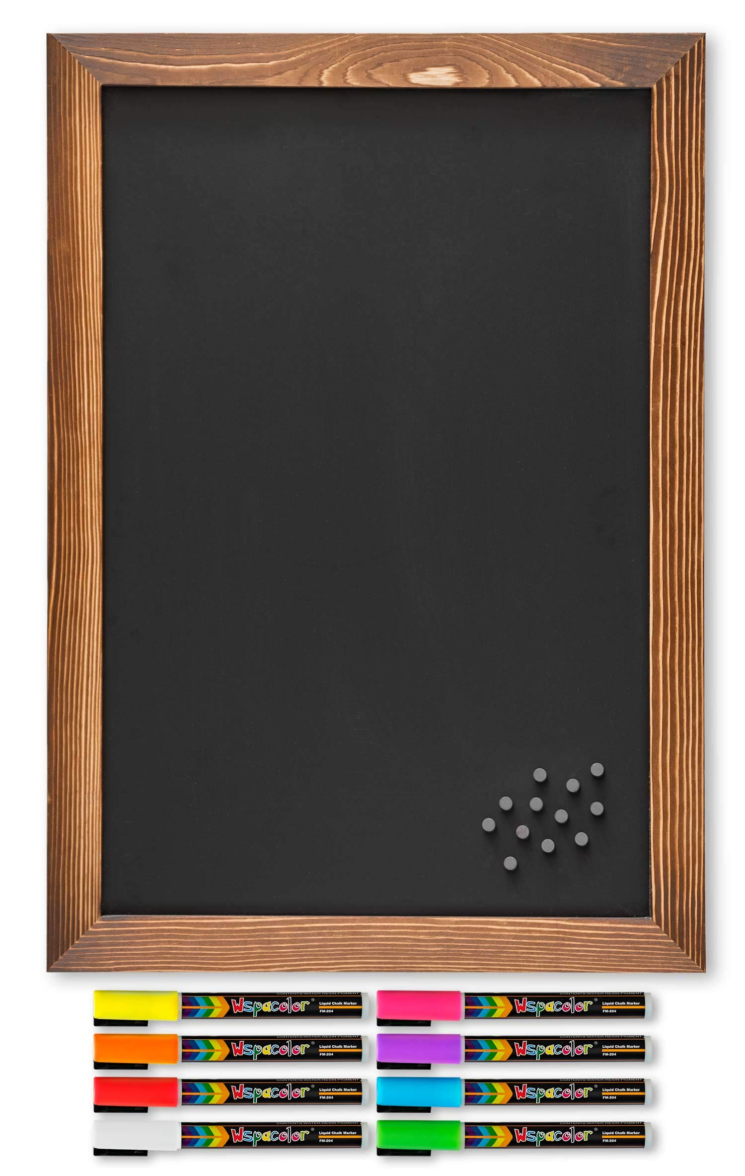 Rustic Magnetic Chalkboard with Torched Wooden Frame/Includes 8 Liquid Chalk Marker Pens and 12 Magnets / 12'' x 20'' Wall Hanging Blackboard/Perfect for Menu Boards, Signs, Wedding Decorations etc by Canva Creations