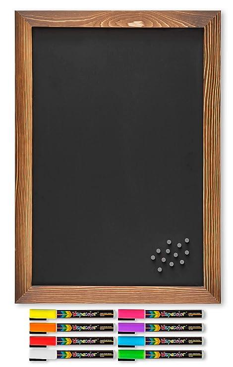 Amazon.com: Pizarra magnética rústica con marco de madera ...