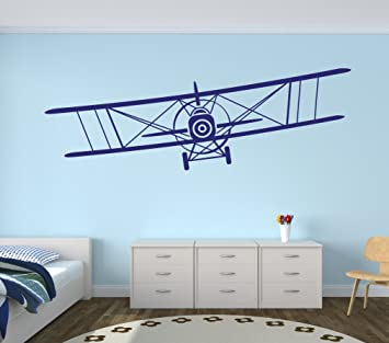 Large Airplane Wall Decal   Biplane Wall Art   Boys Kids Room Decor    Nursery Wall