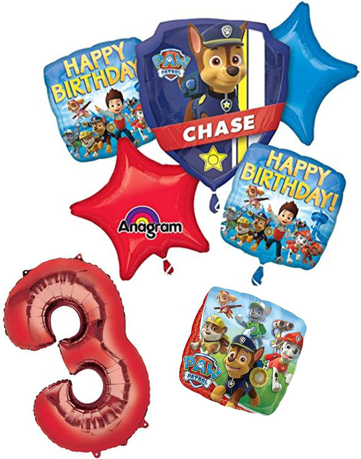 Paw Patrol 3 Year Old Birthday Party Balloon Decoration Bundle Includes 7 Foil Balloons