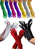 Foxxeo 1002X, long deluxe gloves available in black, white, red, pink, purple, yellow, gray, silver, blue, gold, green/white, 1920s costume