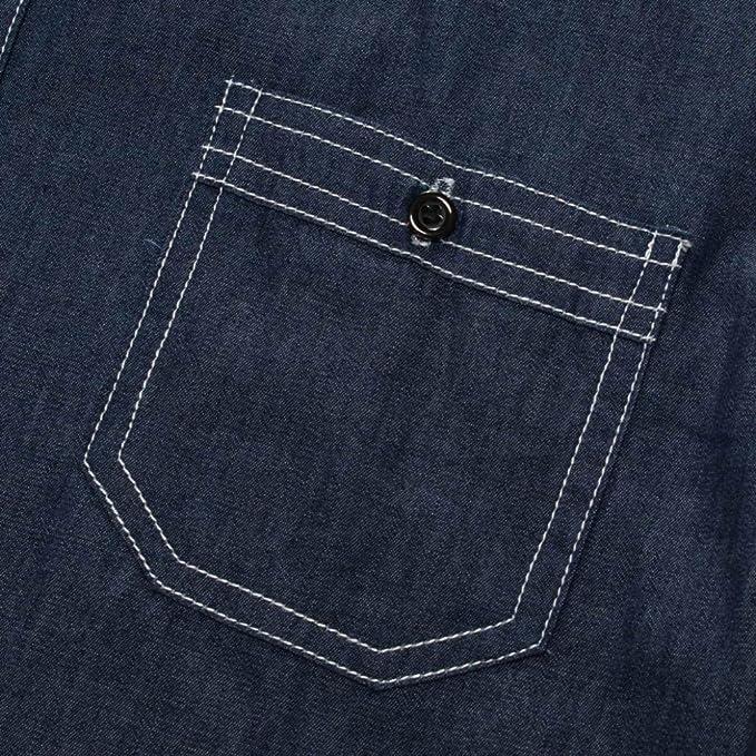 Realdo Mens Denim T-Shirt, Casual Fashion Long Sleeve Button Down Turtleneck Splice Tops | Amazon.com