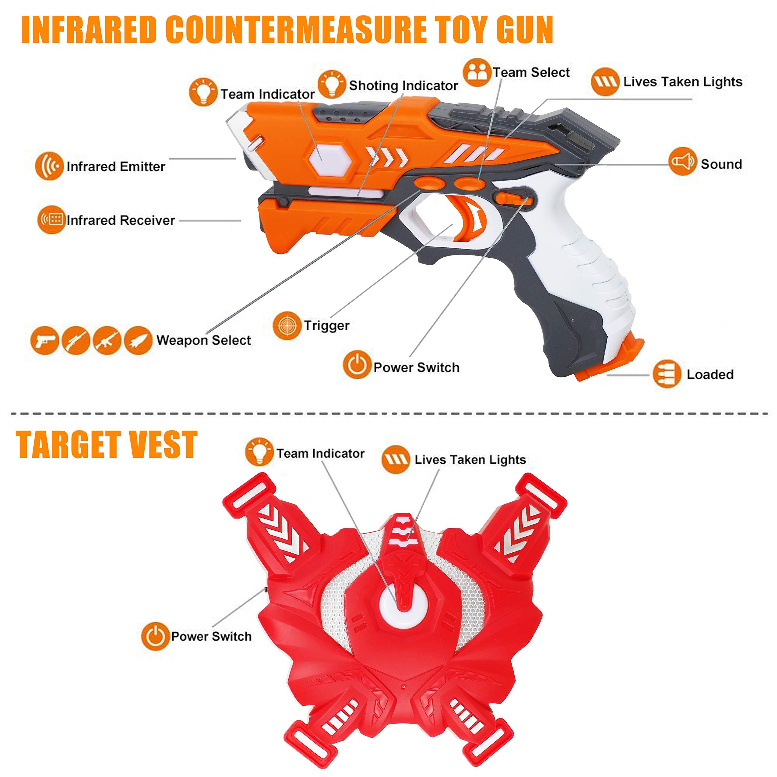 QUQUMA Infrared Laser Tag Set 4 Guns 4 Vests - Indoor Outdoor Laser Gun Kit Toy for Girl & Boy Laser Tag Game Set Best Gift Boys Girls(Laser Guns) by QUQUMA (Image #7)