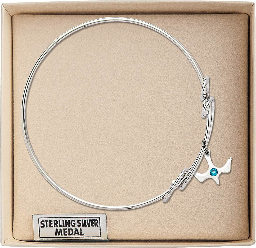 Holy Spirit Charm On A 8 1//2 Inch Round Double Loop Bangle Bracelet