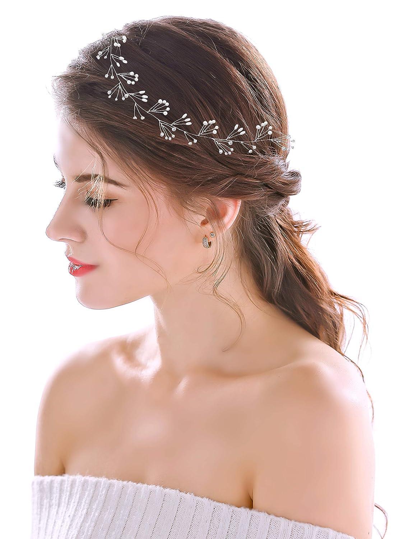 Boho wedding hair vine for long hair Crystal wedding headband Pearl bridal headband V0024 Long Pearl bridal hair vine