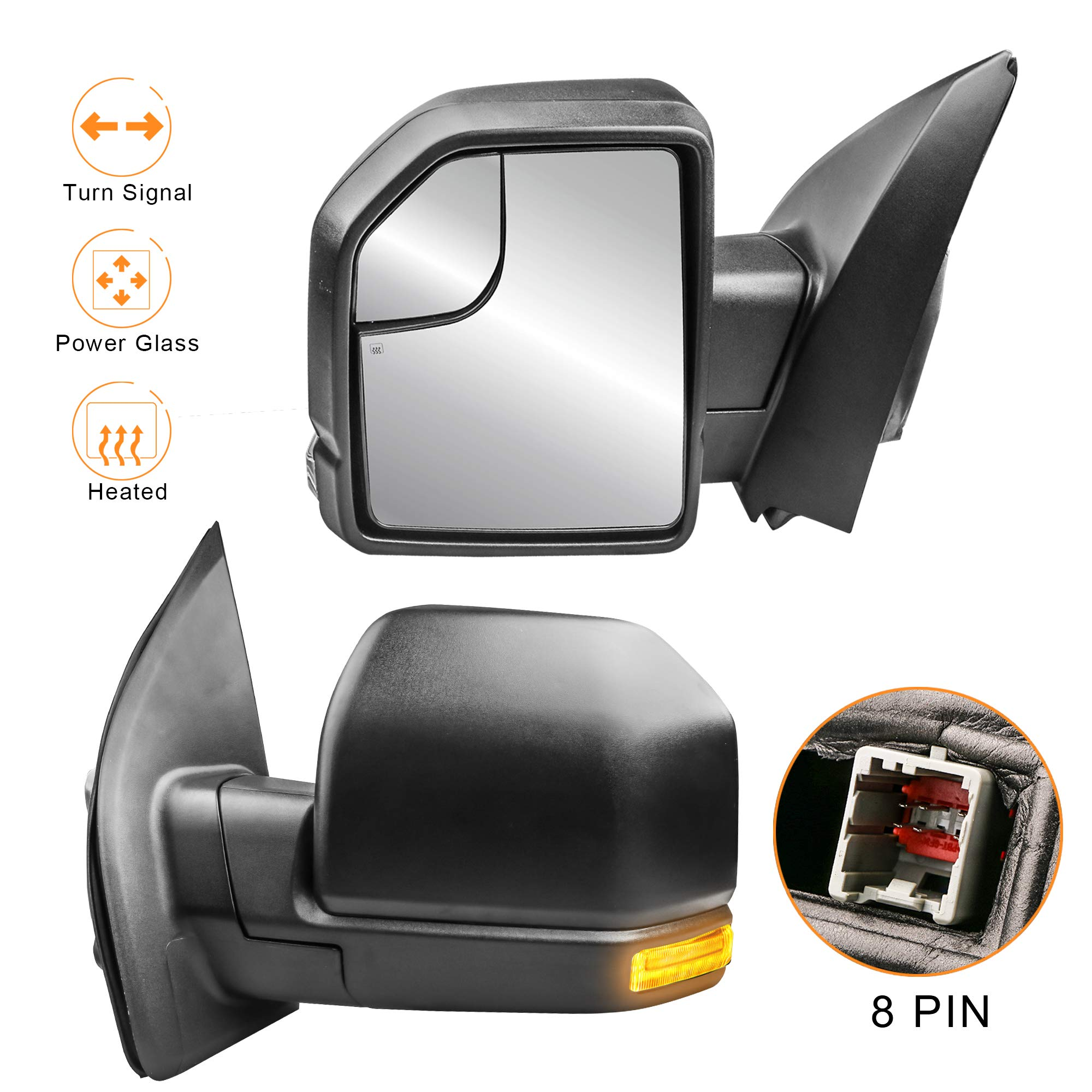 MOSTPLUS New 8 PIN Power Heated Towing Mirrors for Ford F150 2015 2016 2017 w/Turn Signal (Left+Right Side Mirror) by MOSTPLUS (Image #1)