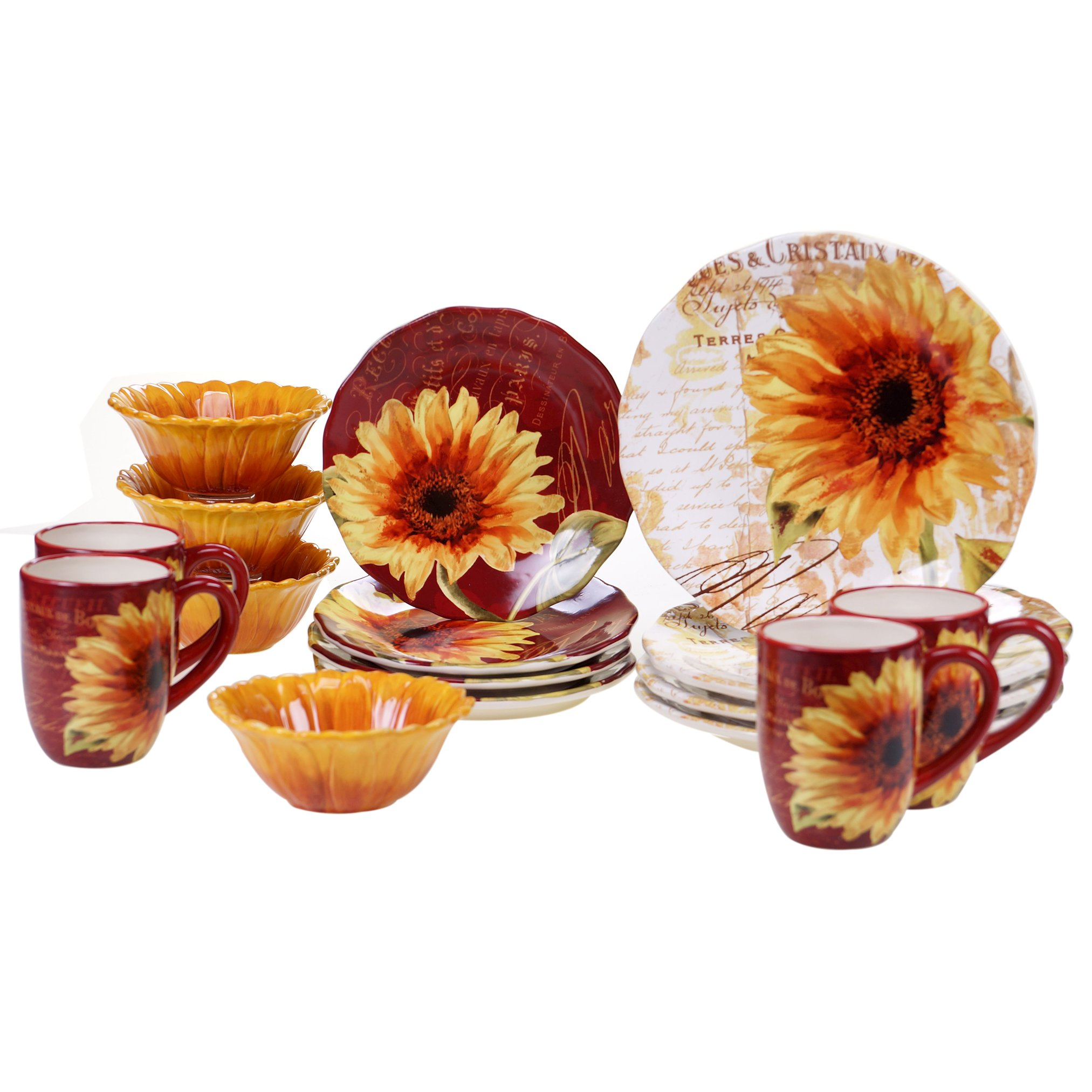Certified International 89095 Paris Sunflower Ceramic Dinnerwae Mulitcolored