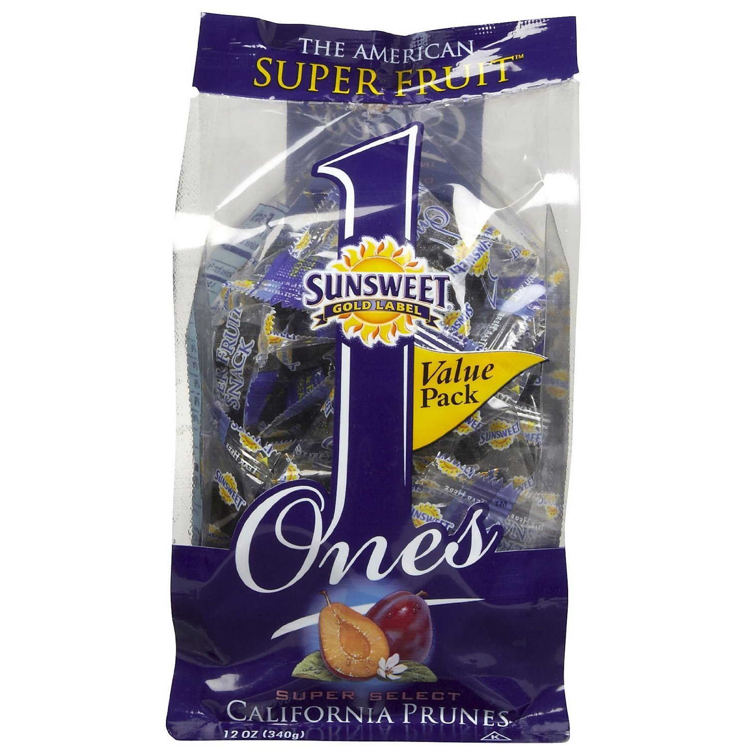 Sunsweet Gold Label Ones Super Select California Prunes 12 OZ (Pack of 6)