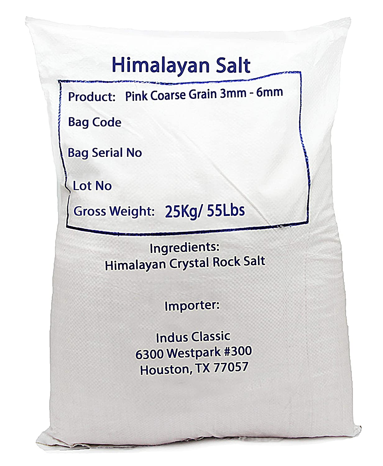 IndusClassic Kosher Pure Natural Unprocessed Himalayan Edible Pink Cooking Coarse Grain Sea Salt --- 55 lbs Coarse Grain 3~6mm