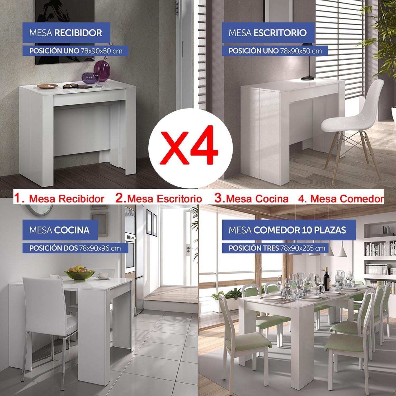 Mesa de comedor consola extensible hasta 235 cm, acabado blanco ...