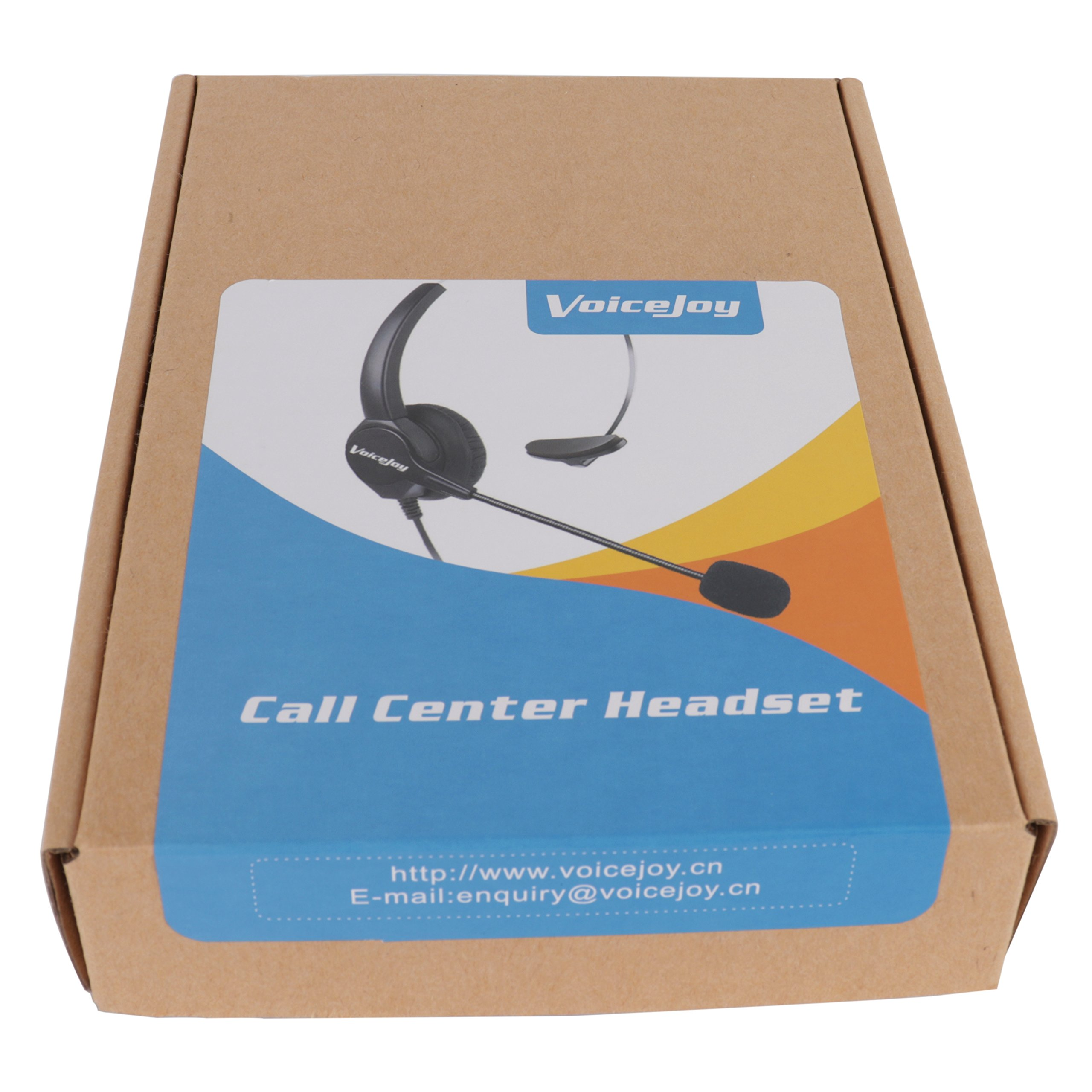 VoiceJoy Call Center Noise Cancelling Corded Monaural Headset Headphone with Mic Microphone with USB Plug, Volume Control and Mute Switch