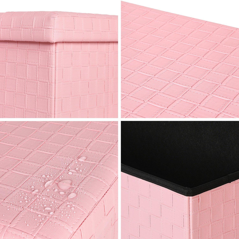 76.5 x 38 x 38 cm Bonlife Cajas y arcones de almacenaje Plegable y F/ácil de Montar Banco Otomano de Almacenamiento,Rosa