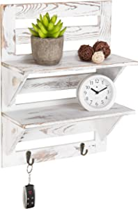 MyGift 2-Tier Rustic Whitewashed Wood Wall-Mounted Shelf Rack with Key Hooks, 17 x 13-Inches