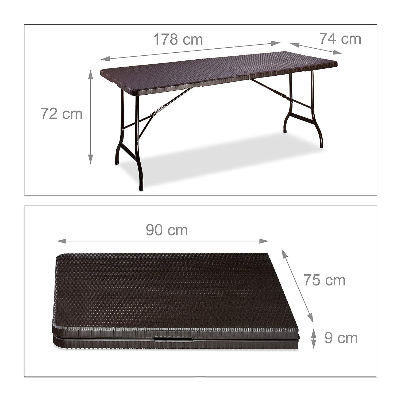 Relaxdays klappbar Gartentisch klappbar Relaxdays BASTIAN, groß, Tragegriff, stabiler Campingtisch, H x B x T  72 x 178 x 74 cm, schwarz 21ef28