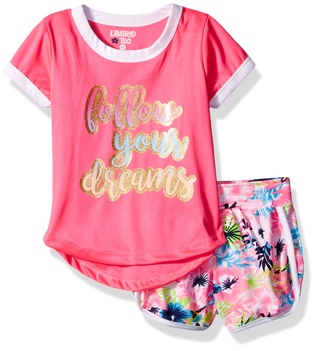 Limited Too Toddler Girls' Knit Top and Short Set (More Styles Available), Multi Print, 3T