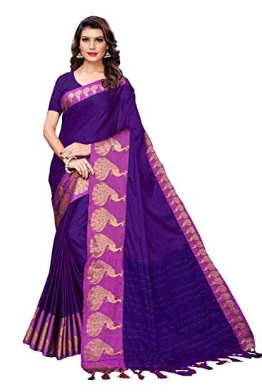 Cotton Silk Saree With Blouse Piece Free Shipping