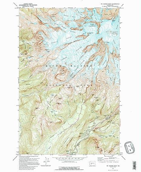 Mt Rainier Topographic Map.Amazon Com Yellowmaps Mt Rainier West Wa Topo Map 1 24000 Scale