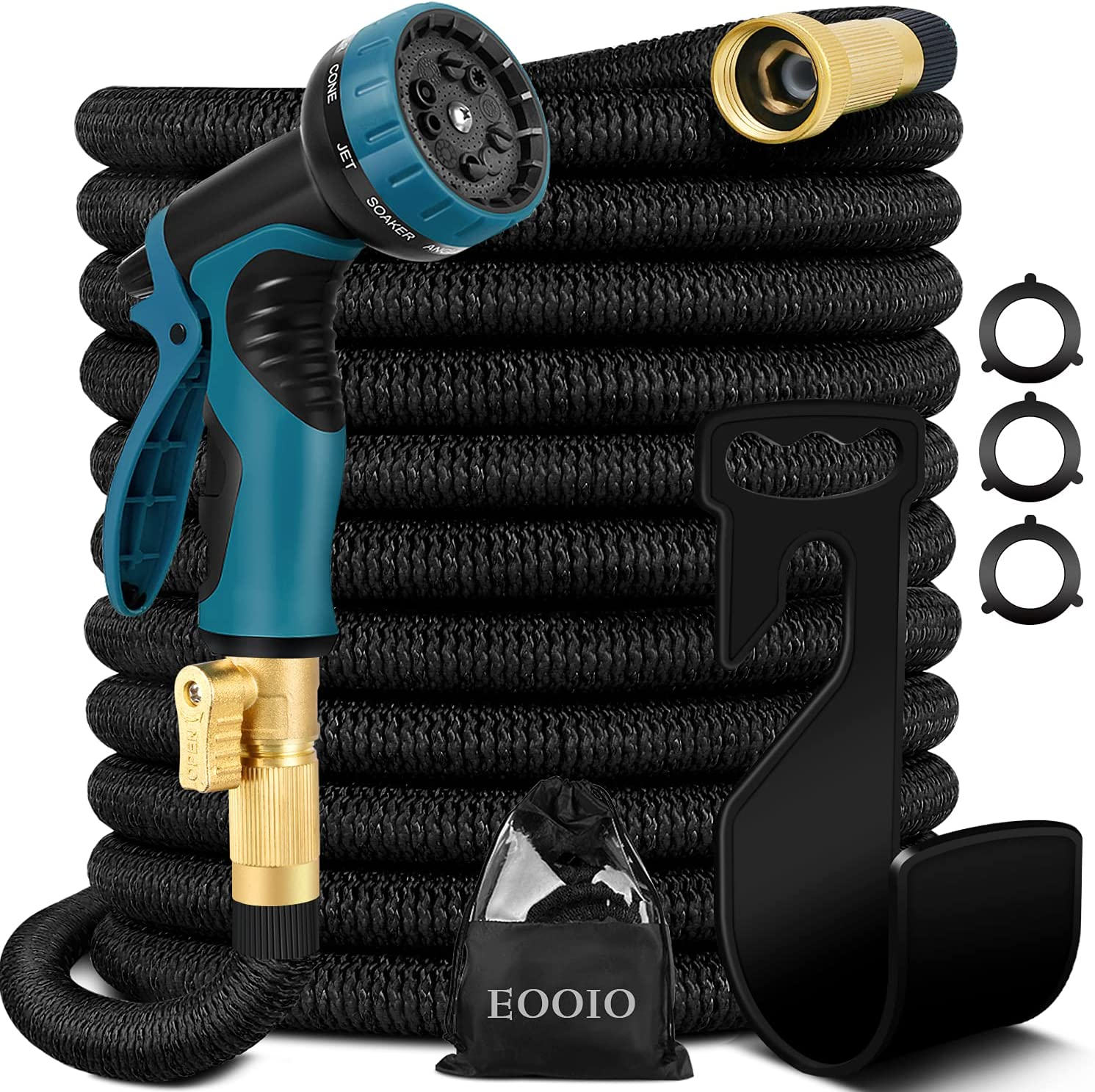 100ft Expandable Garden Hose - Flexible Water Hose with 3/4 Solid Brass Valve, Durable 4-Layers Latex, 10 Function Spray Nozzle, Yard Hoses