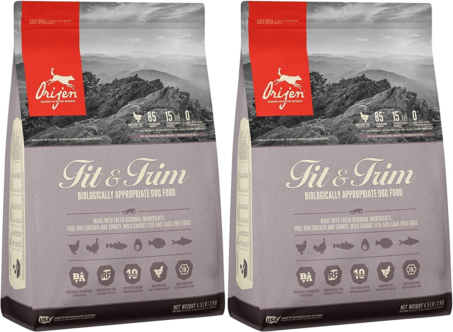 Orijen 2 Pack of Fit & Trim Dog Food, 4.5 Pounds Each, Grain-Free Kibble Made in The USA
