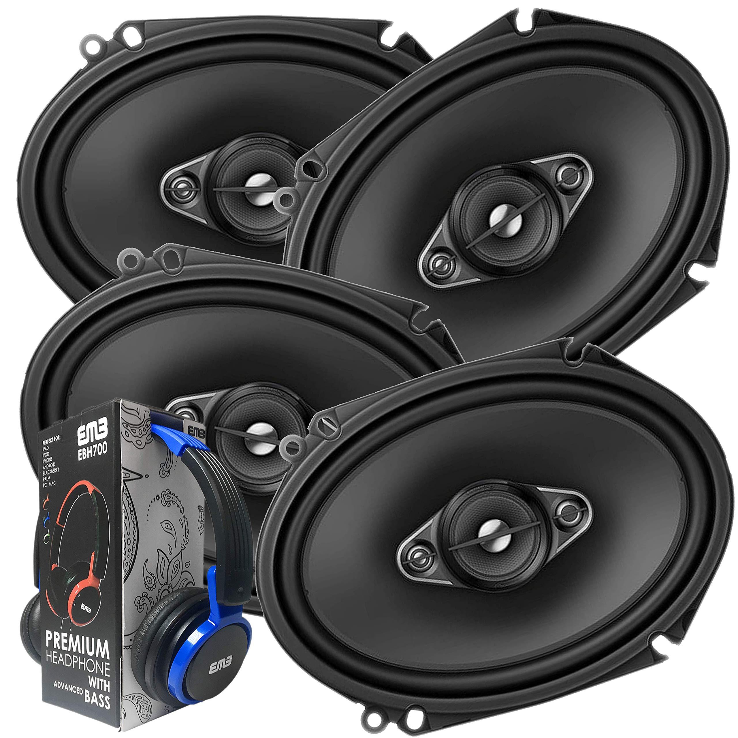 2 Pairs of Pioneer 5x7/ 6x8 Inch 4-Way 350 Watt Car Audio Speakers | TS-A6880F (4 Speakers) + Free EMB Premium Headphone by PIONEER