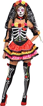 amscan- Day of The Dead Costume-Size 16-18 PC Disfraz de señorita ...