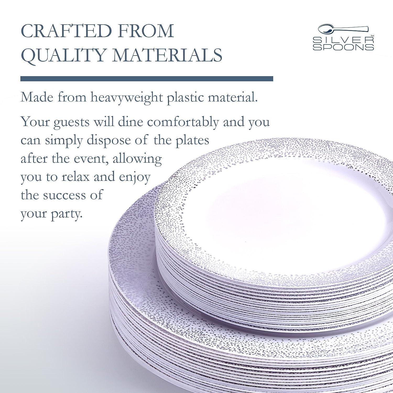 ... Pack | 120 platos llanos y platos de plástico desechables de gramaje extra 120 platos de postre | | porcelana fina y elegante aspecto para calidad de ...