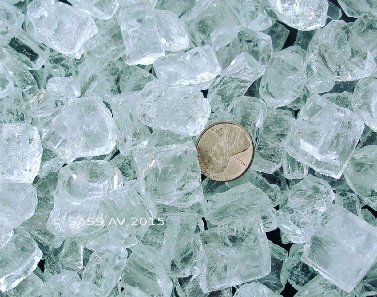 Fireplace Fire Pit Glass, Chunky ~3/4'' Clear with aqua tint, 10 LB by Fireplace Glass San Diego
