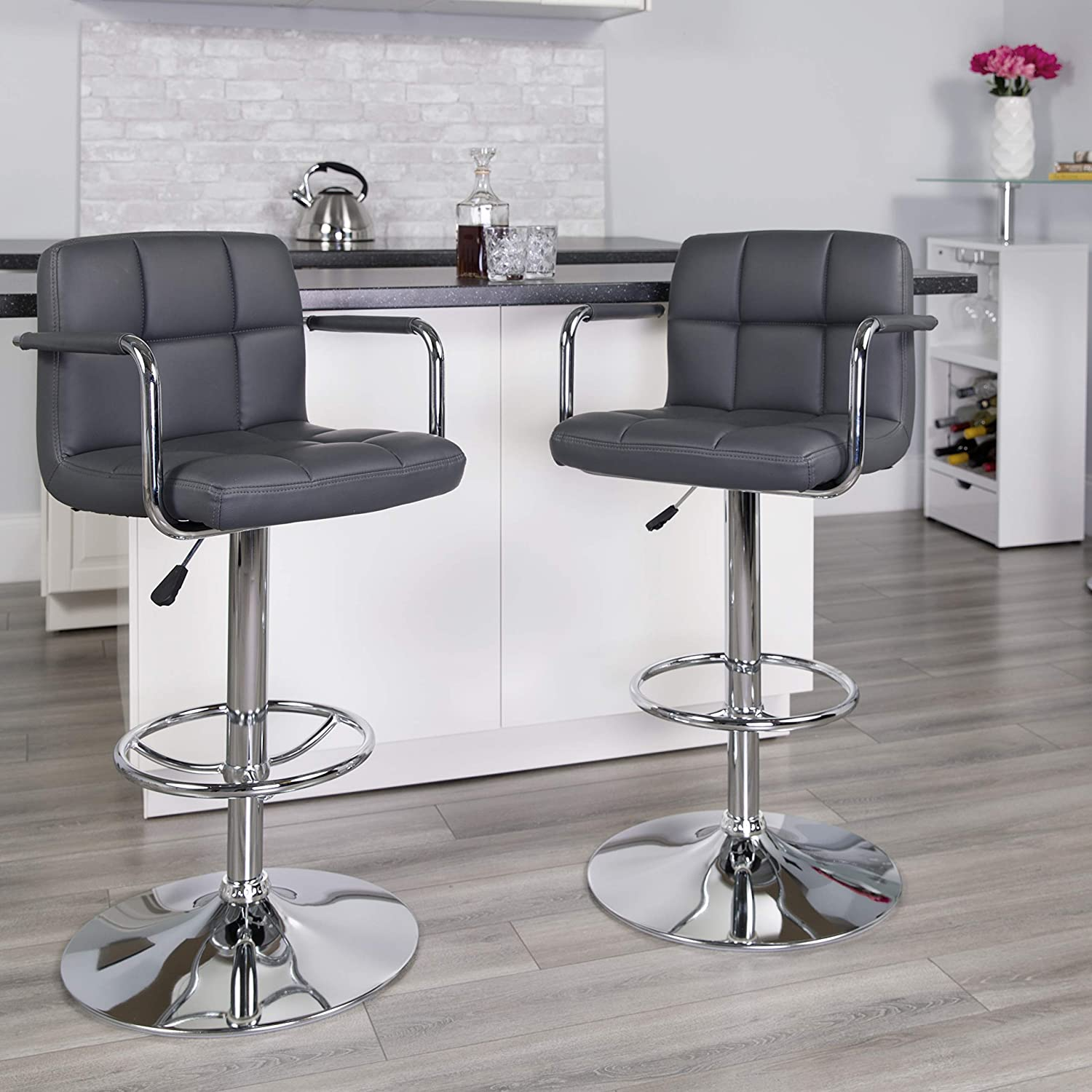 Flash Furniture Contemporary Gray Quilted Vinyl Adjustable Height Barstool with Arms and Chrome Base