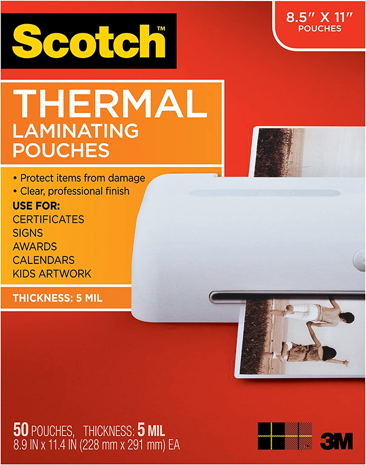 Scotch Thermal Laminating Pouches, 8.9 x 11.4-Inches, 5 mil thick, 50-Pack (TP5854-50)