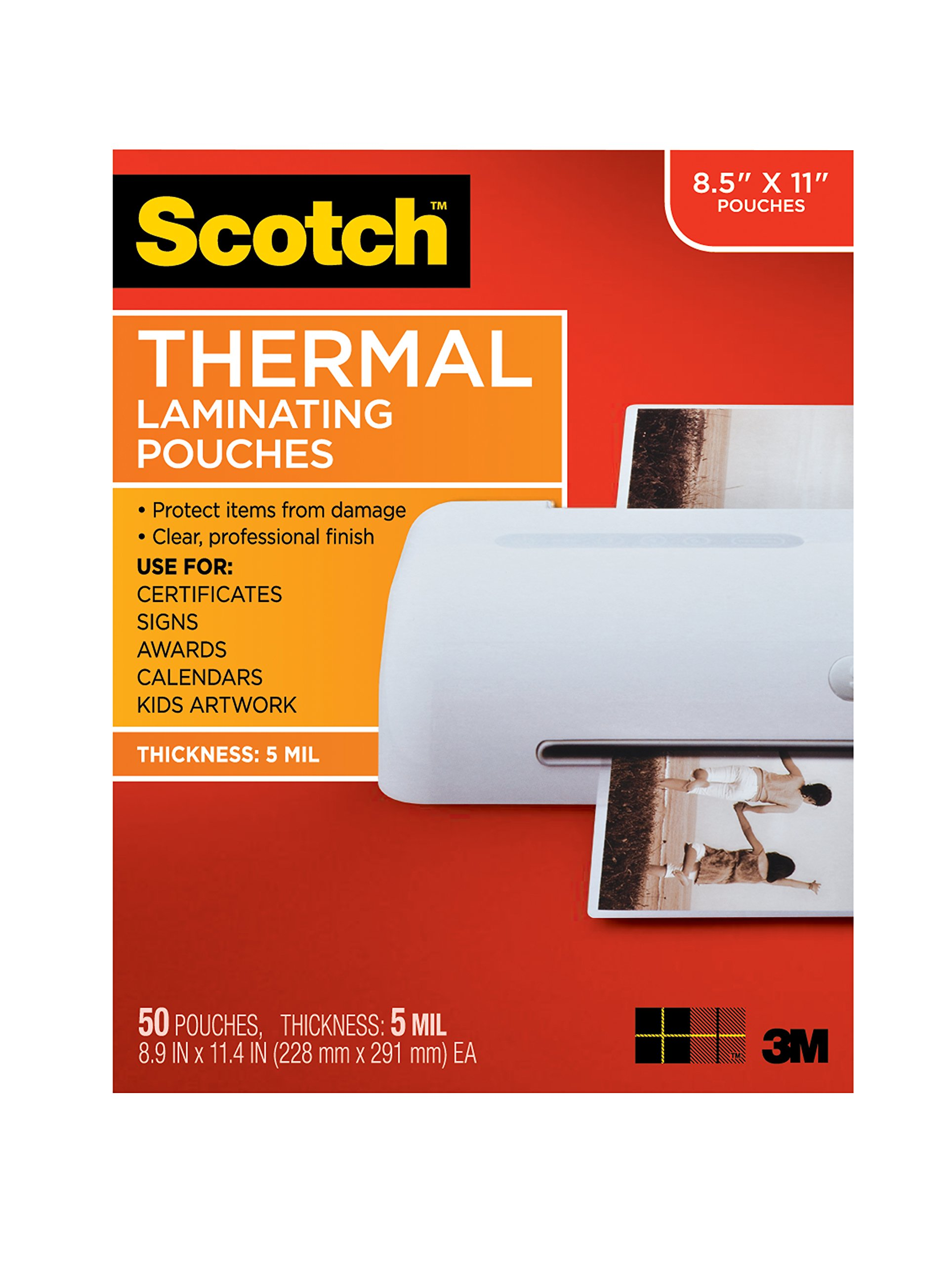 Scotch Thermal Laminating Pouches, 8.9 x 11.4-Inches, 5 mil thick, 50-Pack (TP5854-50) by Scotch Brand