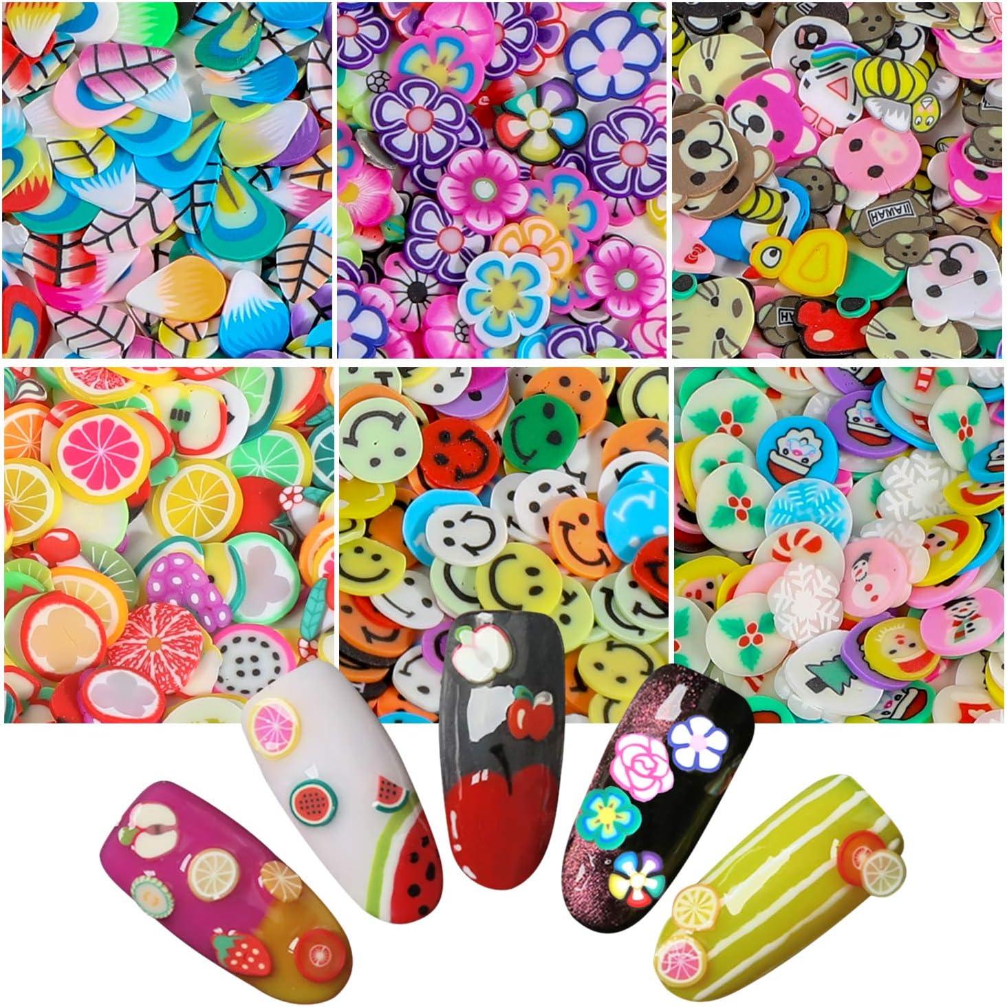 3000 Piezas 3D Uñas Frutas Rodajas Cerámica Suave Pegatinas Calcomanías,MWOOT DIY Diseño de Rodajas de Uñas Nail Art Decals Stickers para UV Gel Acrylic Arte Decoración